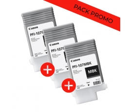 Pack 3 cartouches PFI107Mbk...